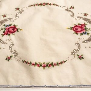 Vintage Cross Stitched Crochet Decor Mat Doily